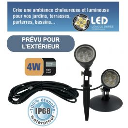 Spot LED 4W blanc chaud étanche IP68