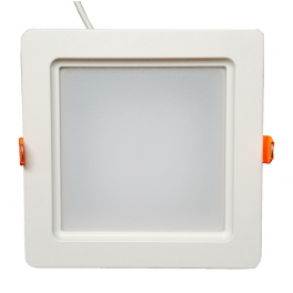 Plafonnier LED 20W 230V carré encastrable blanc chaud