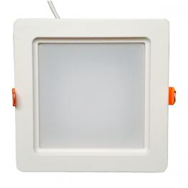 Plafonnier LED 20W 230V carré encastrable blanc chaud