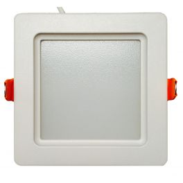 Plafonnier LED 12W 230V carré encastrable blanc chaud