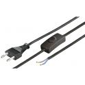 Cordon secteur noir 1m50 0,75mm2 2 pôles avec interrupteur