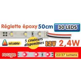 Réglette LED époxy 50 cm 2W4 12V rouge