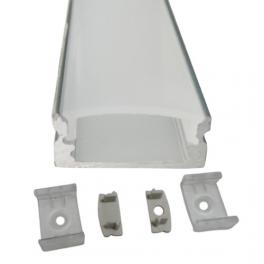 Lot de 2 Profils 1 m alu anodisé pour ruban LED 17x7 mm transparent