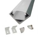 Lot de 2 Profils 1 m alu anodisé pour ruban LED 18x18 mm opaque
