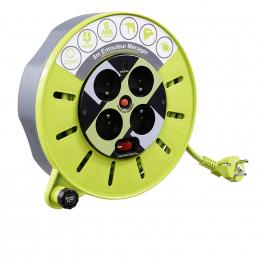 Rallonge enrouleur 8m 4 prises protection thermique