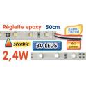 Réglette LED époxy 50 cm 2W4 12V blanc chaud