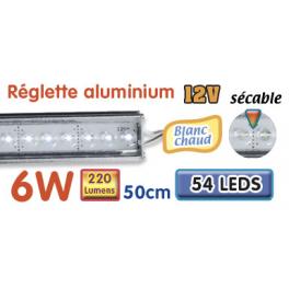 Réglette LED alu 50 cm 6W 12V blanc chaud