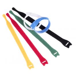 10 Serre-câbles Velcro auto-agrippants 200 mm jaune