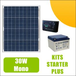 Kit panneau solaire 30W Mono 12V av régulateur 5A et batterie