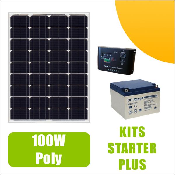 kit panneau solaire 100w poly 12v av r gulateur 10a et batterie 449 00 starter kits. Black Bedroom Furniture Sets. Home Design Ideas