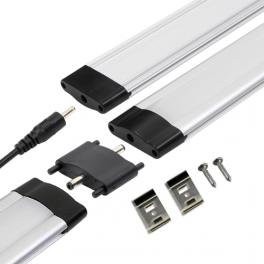 Réglette LED alu 0m50 69 LED SMD blanc chaud cache diffusant