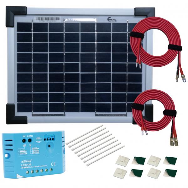 kit panneau solaire polycristallin 5w 12v av r gulateur 5a et accessoires de c blage 44 90. Black Bedroom Furniture Sets. Home Design Ideas
