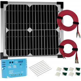 Kit panneau solaire monocristallin 10W 12V av régulateur 5A et accessoires de câblage