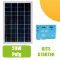 Kit panneau solaire 20W  Polycristallin 12V et régulateur 5A