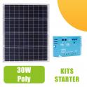 Kit panneau solaire polycristallin 30W 12V et régulateur 5A