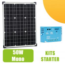 Kit panneau solaire 50W Monocristallin 12V et régulateur 5A