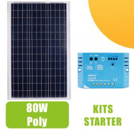 Kit panneau solaire 80W  Polycristallin 12V et régulateur 10A