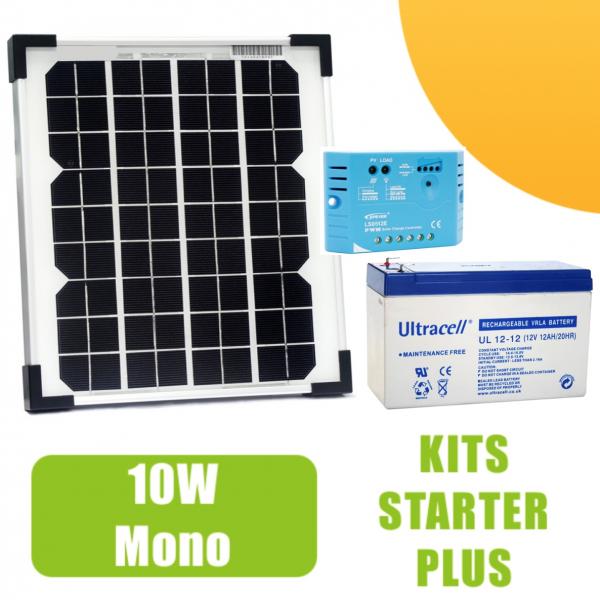 kit panneau solaire mono 10w 12v avec r gulateur 5a et batterie 92 50 starter kits. Black Bedroom Furniture Sets. Home Design Ideas