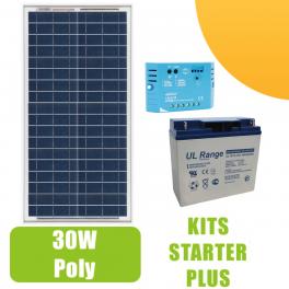 Kit panneau solaire 30W 12V avec régulateur 5A et batterie