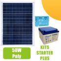Kit panneau solaire 50W 12V avec régulateur 5A et batterie
