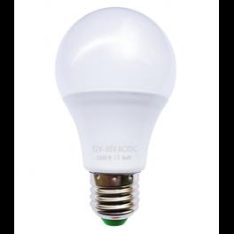 Ampoule LED bulbe E27, 9W 12V-24V AC/DC, blanc chaud 3500°K
